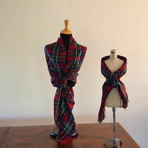Tartan Looks Merino Wool Wrap Red - Opal Merino