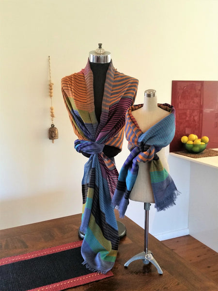 Turquoise Orange Multi Merino Wool Shawl - Opal Merino