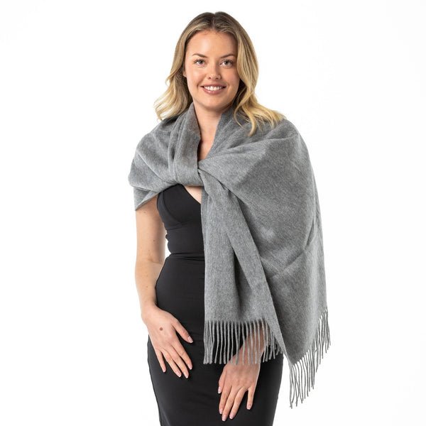 Winter Grey Cashmere Shawl - Opal Merino