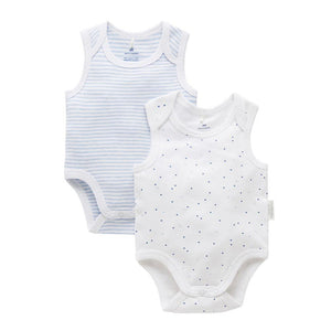Purebaby 2 Pack Essentials Blue Bodysuits