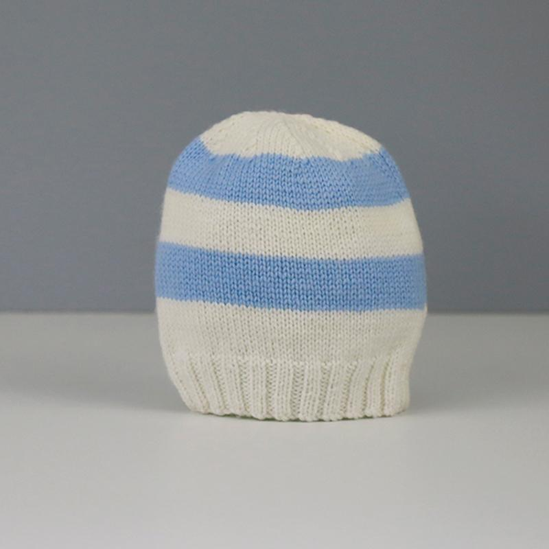 Amelia Hand Knitted Baby Hat in Blue and Cream Stripe