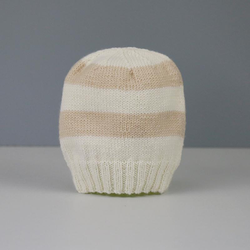 Amelia Hand Knitted Baby Hat in Camel and Cream Stripe
