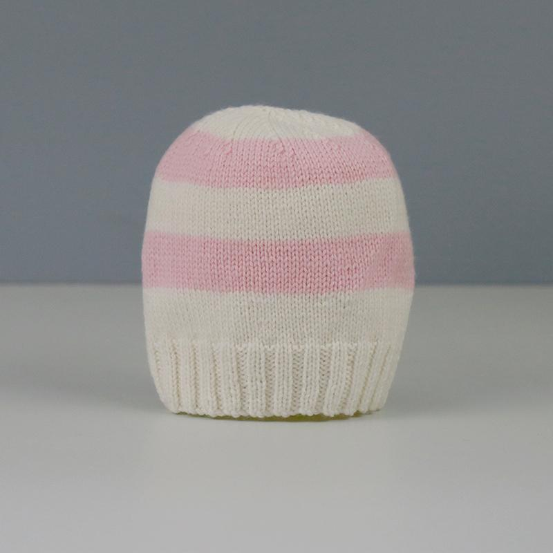 Amelia Hand Knitted Baby Hat in Pink and Cream Stripe