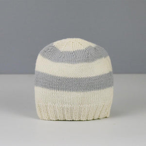 Amelia Hand Knitted Baby Hat in Grey and Cream Stripe