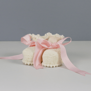 Annabel Cream Baby Booties with Pink Ribbon
