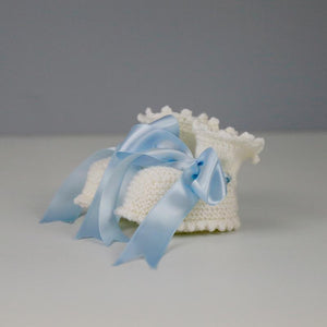 Annabel Cream Baby Booties with Blue Satin Ribbon