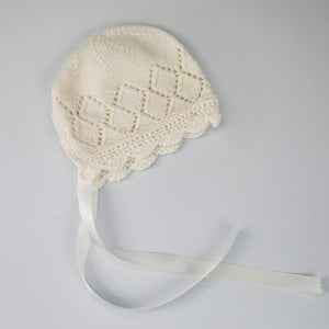 Charlotte Baby Bonnet in Diamond Pattern with Cream Satin Ribbon