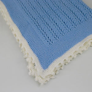 Elizabeth Hand Knitted Baby Blanket - Blue/Cream