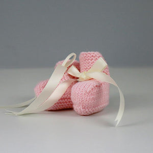 Grace Hand Knitted Baby Booties in Pale Pink with Cream Satin Ribbon