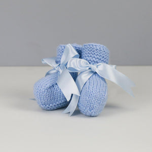 Grace Hand Knitted Baby Booties in Pale Blue with Blue Satin Ribbon
