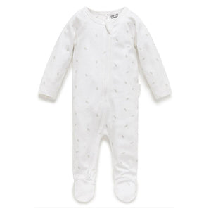 Purebaby Grey Leaf with Spot Growsuit