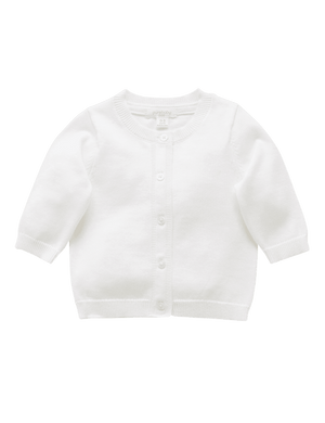 Purebaby Essential Cardigan White