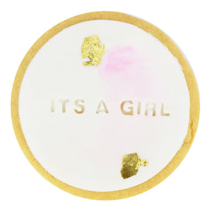 It's a Girl Shortbread Cookie with Gold Foil