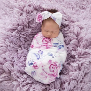 Snuggle Swaddle & Topknot Set in Lilac Skies