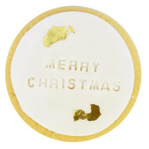 Merry Christmas Shortbread Cookie with Gold Foil