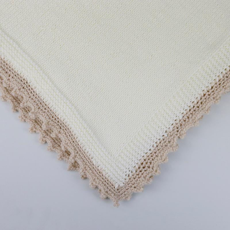 Sophie Super Soft Hand Knitted Baby Blanket - Cream/Camel