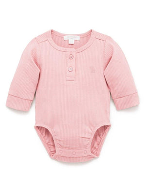 Purebaby Rib Henley Bodysuit in Dusty Rose