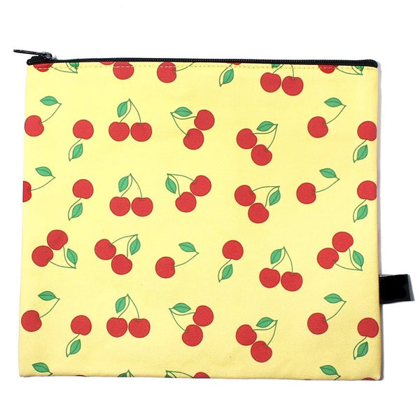 Cherry Print Canvas Pouch