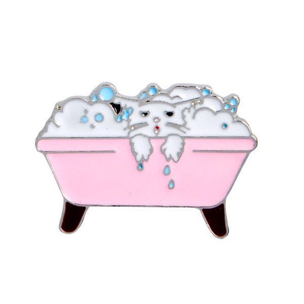 Bubblebath Cat Enamel Pin
