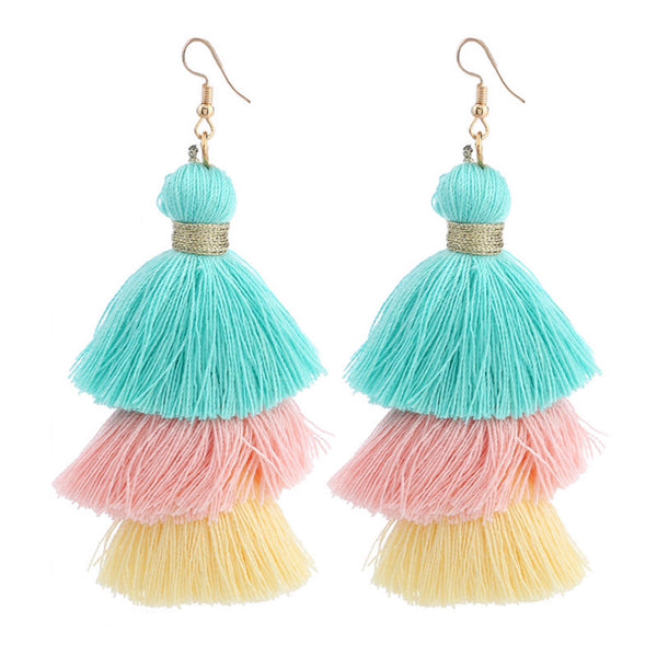Ombré Layered Tassel Earrings