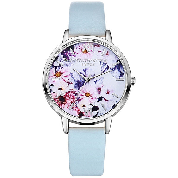 Faux Leather Floral Watch