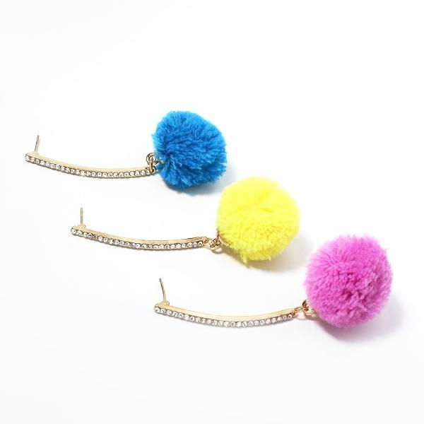 Rhinestone Pom Pom Earrings