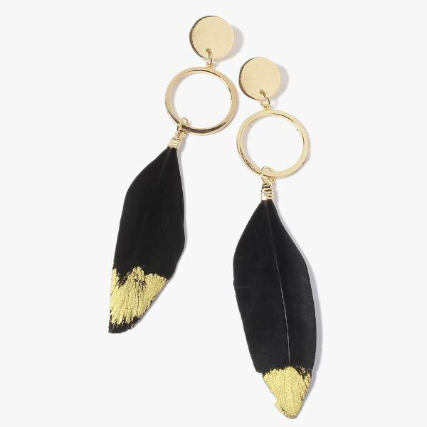 Gold-Dipped Feather Earrings