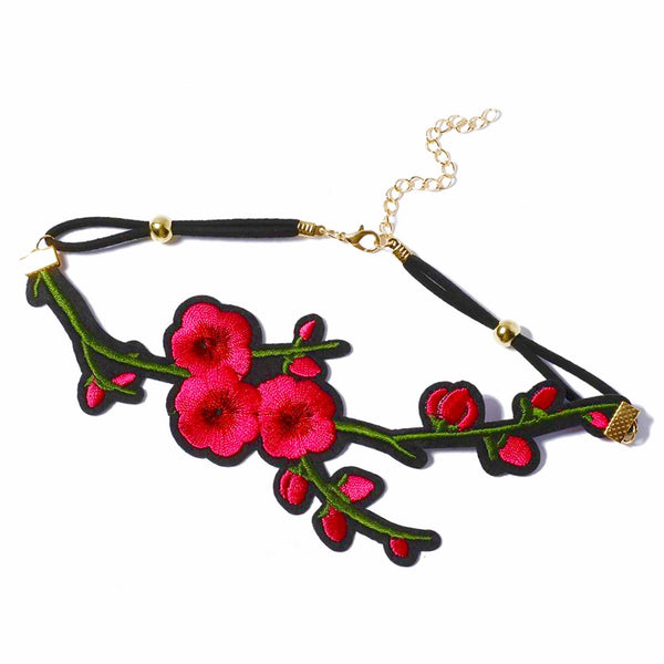 Embroidered Rose Choker Necklaces