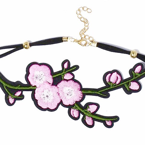 Embroidered Rose Chokers