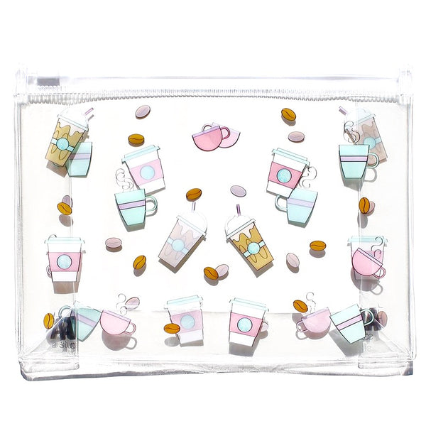 Coffee Print Clear Makeup Bag
