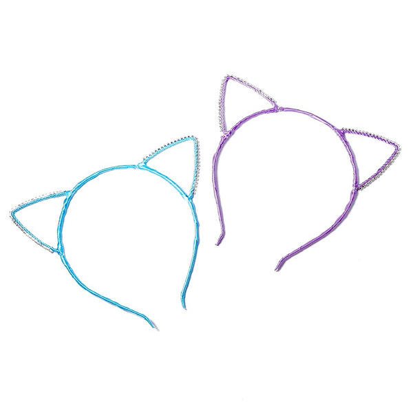 Satin & Rhinestone Cat Ear Headbands