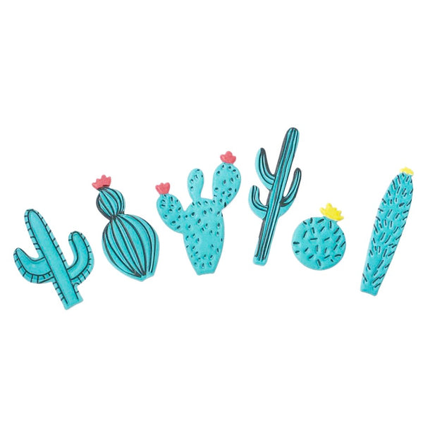 6 Piece Puffy Cactus Sticker Set