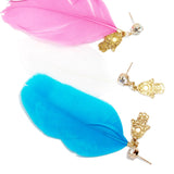 Feather Hamsa Hand Earrings