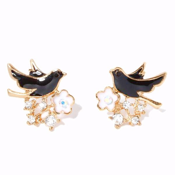 Bird & Flower Earrings