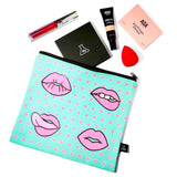 Lip Print Canvas Pouch