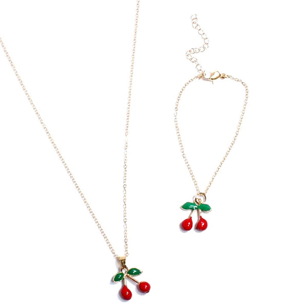Cherry Pendant & Bracelet Set