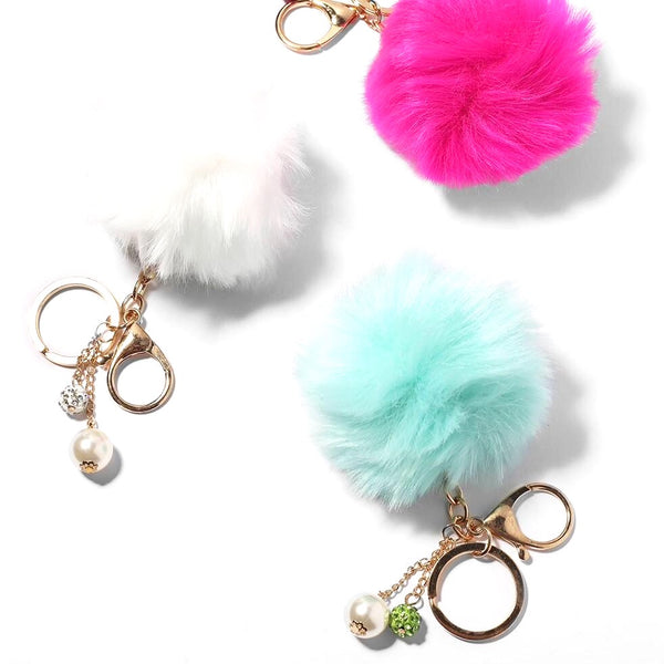 Fuzzy PomPom Purse Charms