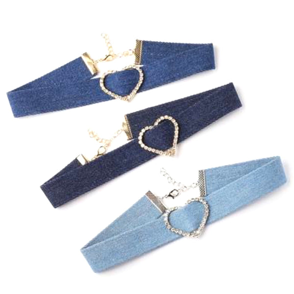 Denim & Rhinestone Heart Chokers
