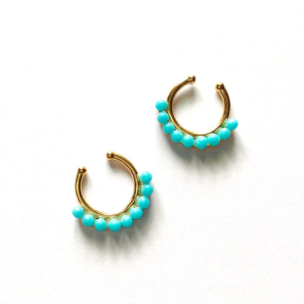 Turquoise Bead Septum Ring