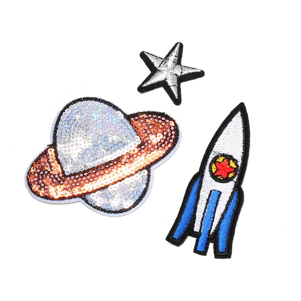 Iron-On Sequin Space Patch Set