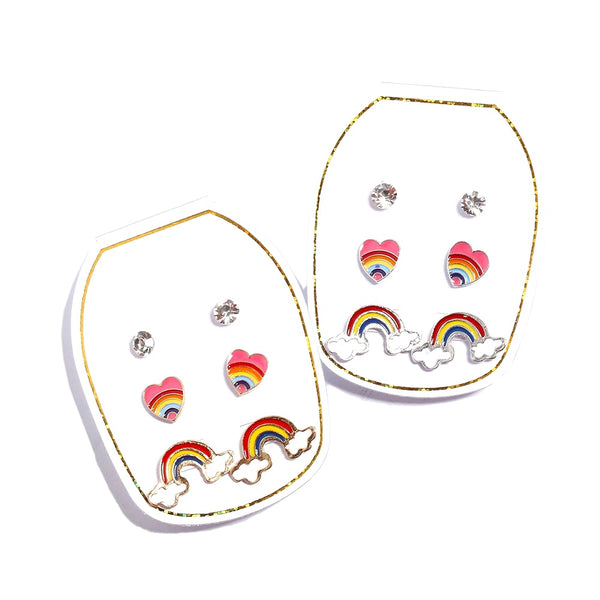 3 Piece Rainbow Earring Set