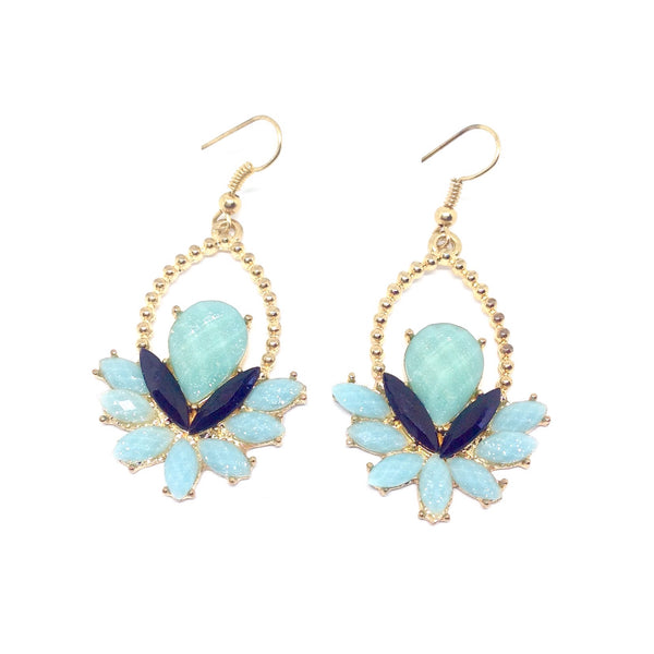 Art Deco Stone Fan Earrings