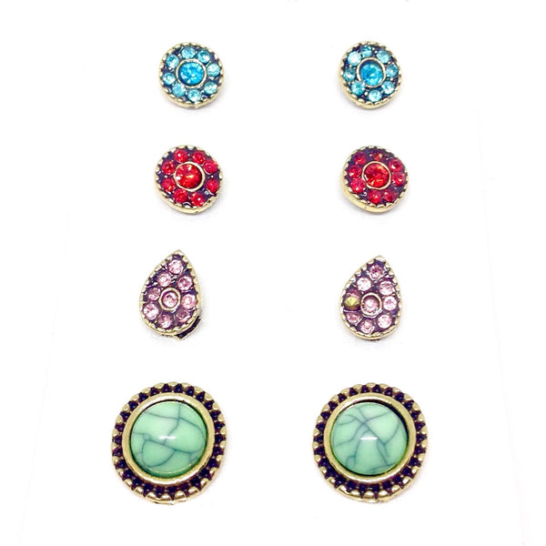 4 Piece Stone Earring Set