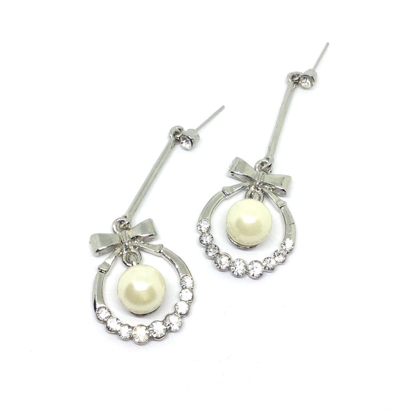 Pearl & Rhinestone Drop Earrings