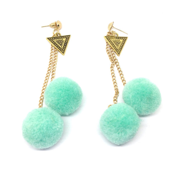 Triangle Pom-Pom Dangle Earrings
