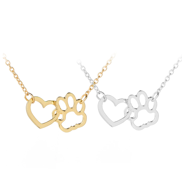 Heart & Paw Pendant Necklace