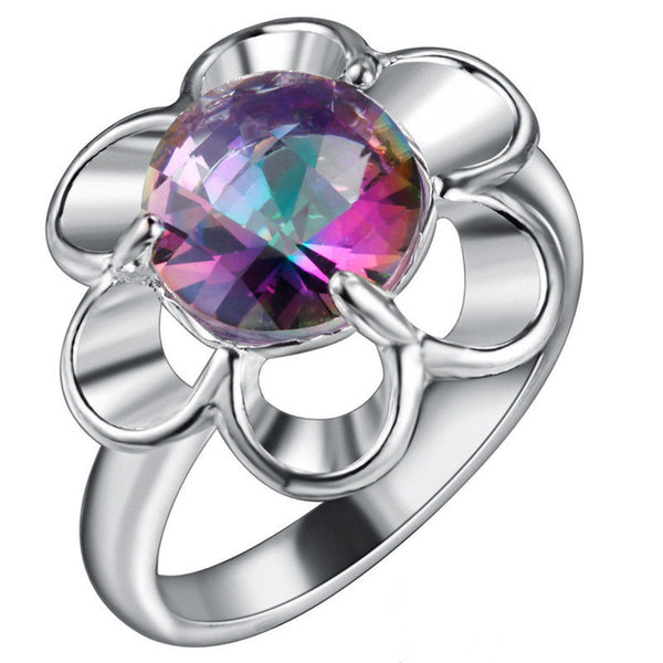 Rainbow Crystal Flower Ring