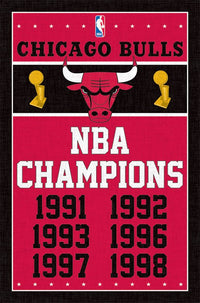 Chicago Bulls 6-Time Champions Commemorative NBA Wall Poster