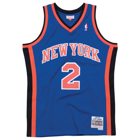 LARRY JOHNSON NEW YORK KNICKS NBA HARDWOOD CLASSICS THROWBACK BLUE SWINGMAN JERSEY