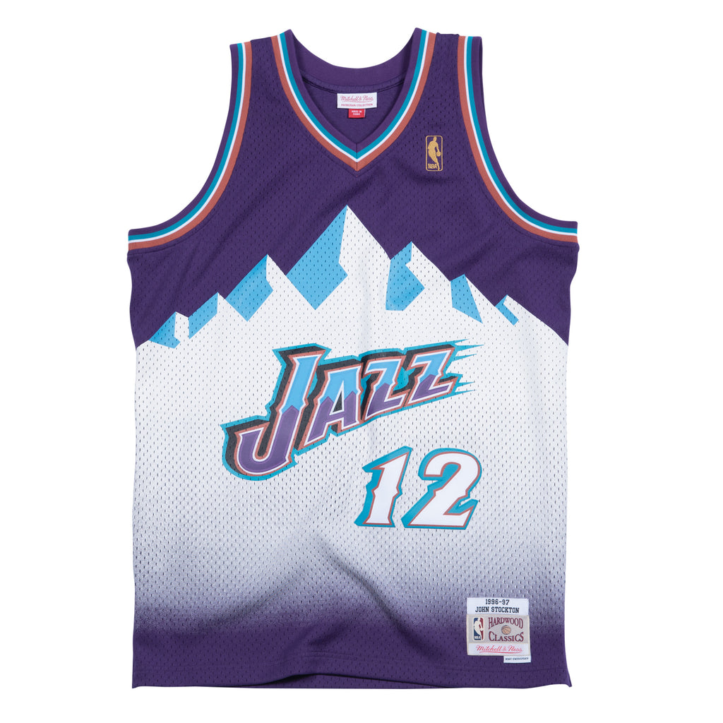 John Stockton Utah Jazz Hardwood Classics Throwback NBA Swingman Jersey